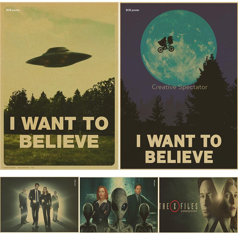 """Classic Kraft paper /""""I Want To Believe/"""" Vintage Stickers Poster Home Wall Decor"""