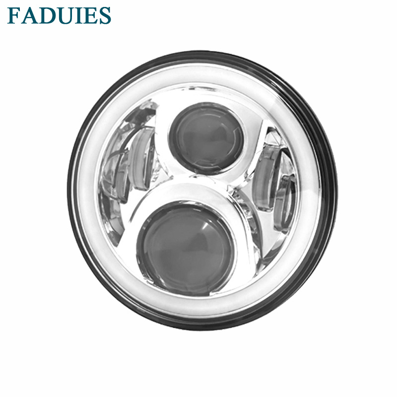 FADUIES Chrome 7 inch Round Motorcycle LED Headlight For Harley DRL with white Halo Angel Eyes H4 LED Motorcycle Headlight