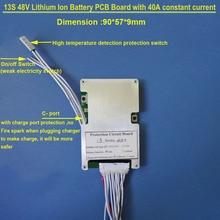 48V 13S Lipo pil BMS ve 54.6V PCB 40A sabit deşarj akımı ve bms ile kapalı anahtarı lityum 18650 veya