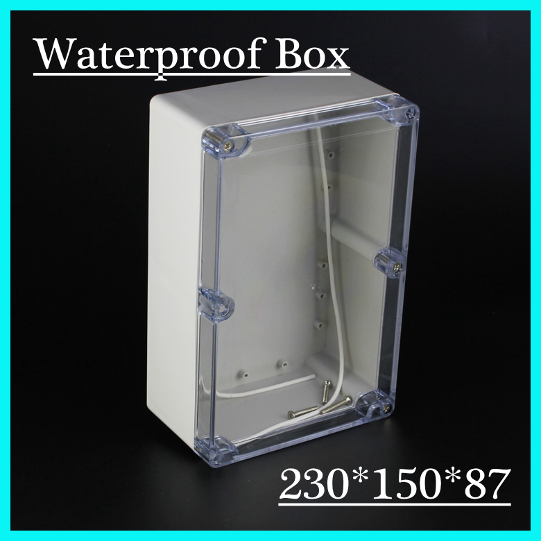 (1 piece/lot) 230*150*87mm Clear ABS Plastic IP65 Waterproof Enclosure PVC Junction Box Electronic Project Instrument Case 1 piece lot 83 81 56mm grey abs plastic ip65 waterproof enclosure pvc junction box electronic project instrument case