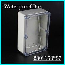 (1 шт./лот) 230*150*87 мм ясно, abs Пластик IP65 Водонепроницаемый корпус ПВХ распределительная коробка электронного проекта готовальни