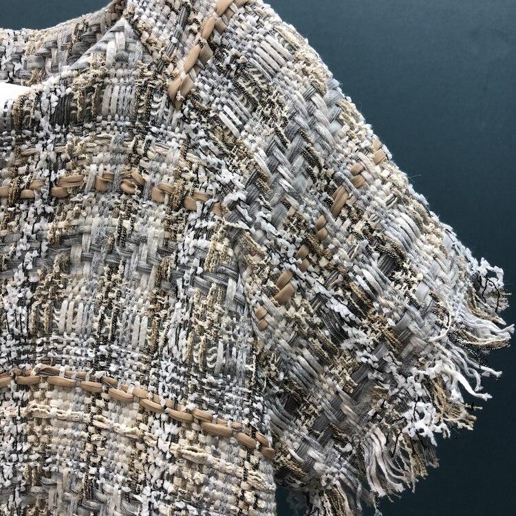 18 autumn Fashion show women's high-end quality tweed woven lace tassel dress Short sleeve miniskirt lattice Belt mini dress 14