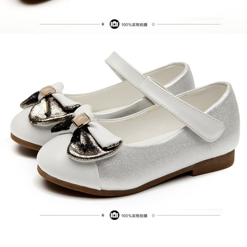 ФОТО Girls spring autumn shoes models bowknot princess shoes leather Korean students 3 color baby comfortable shoes for children