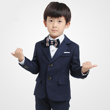 Quality fashion baby kids boy children blazers suits boys suits for weddings formal Dark blue wedding suit Flower girl boy dress стоимость