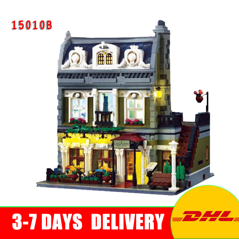 In Stock Lepin 15010B Expert City Street Parisian Restaurant Lighting Model Education Building Kits Block Toy Compatible 10243 new lepin 15010 expert city street parisian restaurant model building kits blocks funny children toys compatible with 10243 gift
