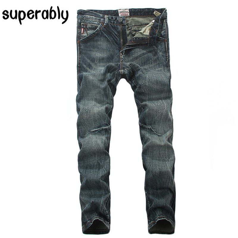 Superably Brand High Quality Men Jeans Slim Fit Vintage Retro Design Denim Stripe Jeans Mens Pants Frayed Ripped Jeans Men classic mid stripe men s buttons jeans ripped slim fit denim pants male high quality vintage brand clothing moto jeans men rl617