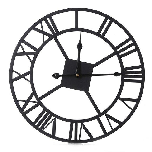 Wj Big 3d Iron Decorative Wall Clock Retro Roman Numerals Design Dd