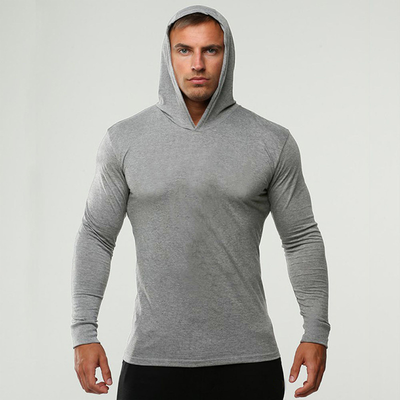 2019 Long Sleeve Fitness Hoodies Men Autumn Thin Sweatshirt Male Sporting Slim Fit Streetwear Solid Pullover Hoodie White Gray