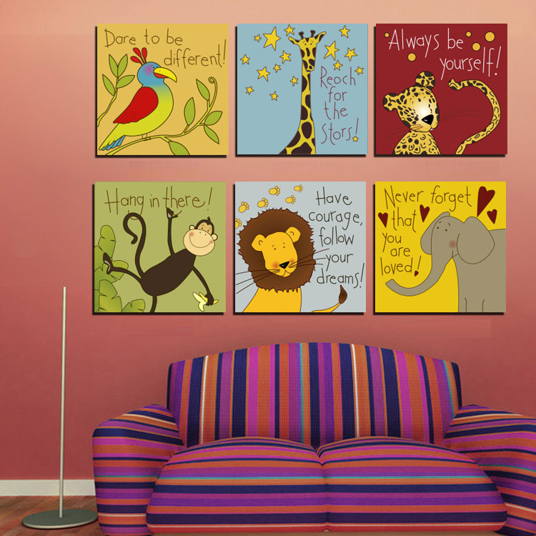 Buy cartoon animals motto canvas painting animated quotes prints maxim wall for Canvas prints childrens bedrooms