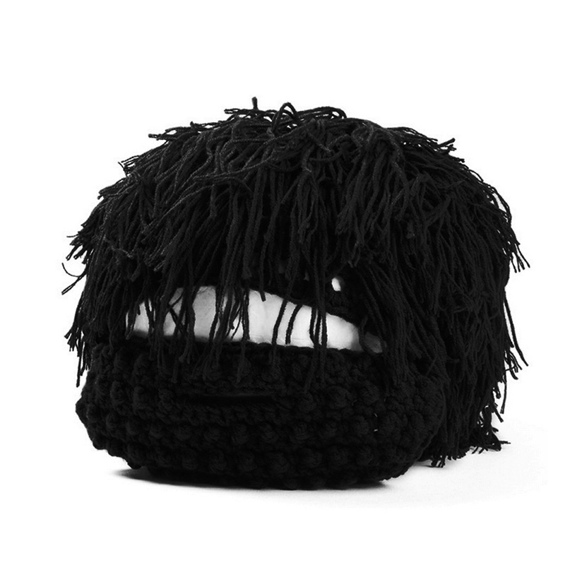 Wig Beard Solid Hats Hobo Mad Scientist Rasta Caveman Handmade Winter Knit Warm Men Women Caps Gift Funny Party Mask Beanies