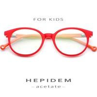 6 12 (Years Old) Kids Children Glasses Frame Acetate Boys Girl Myopia Optical Frames 2018 New Round Child Eyeglasses Spectacles