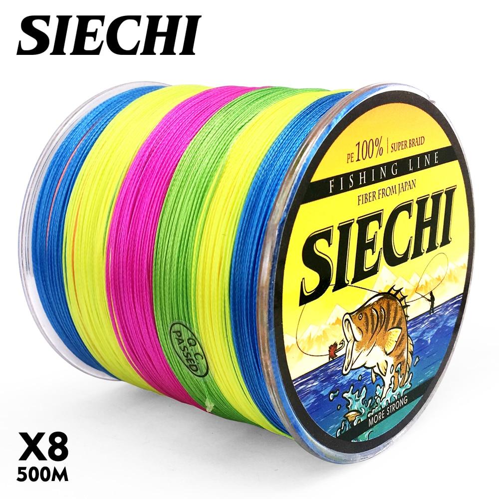 SIECHI 500M PE Braided Line Fishing cord 20-88LB 0.16-0.5mm 8 Strand Multifilament Fishing PE Braided Wire 500M Fishing line
