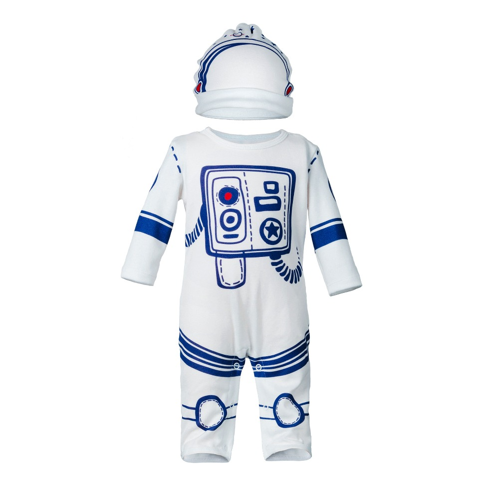 New astronaut style infant long sleeve rompers hat set fashion baby girls boys clothes summer autumn kids cotton jumpers 17S907