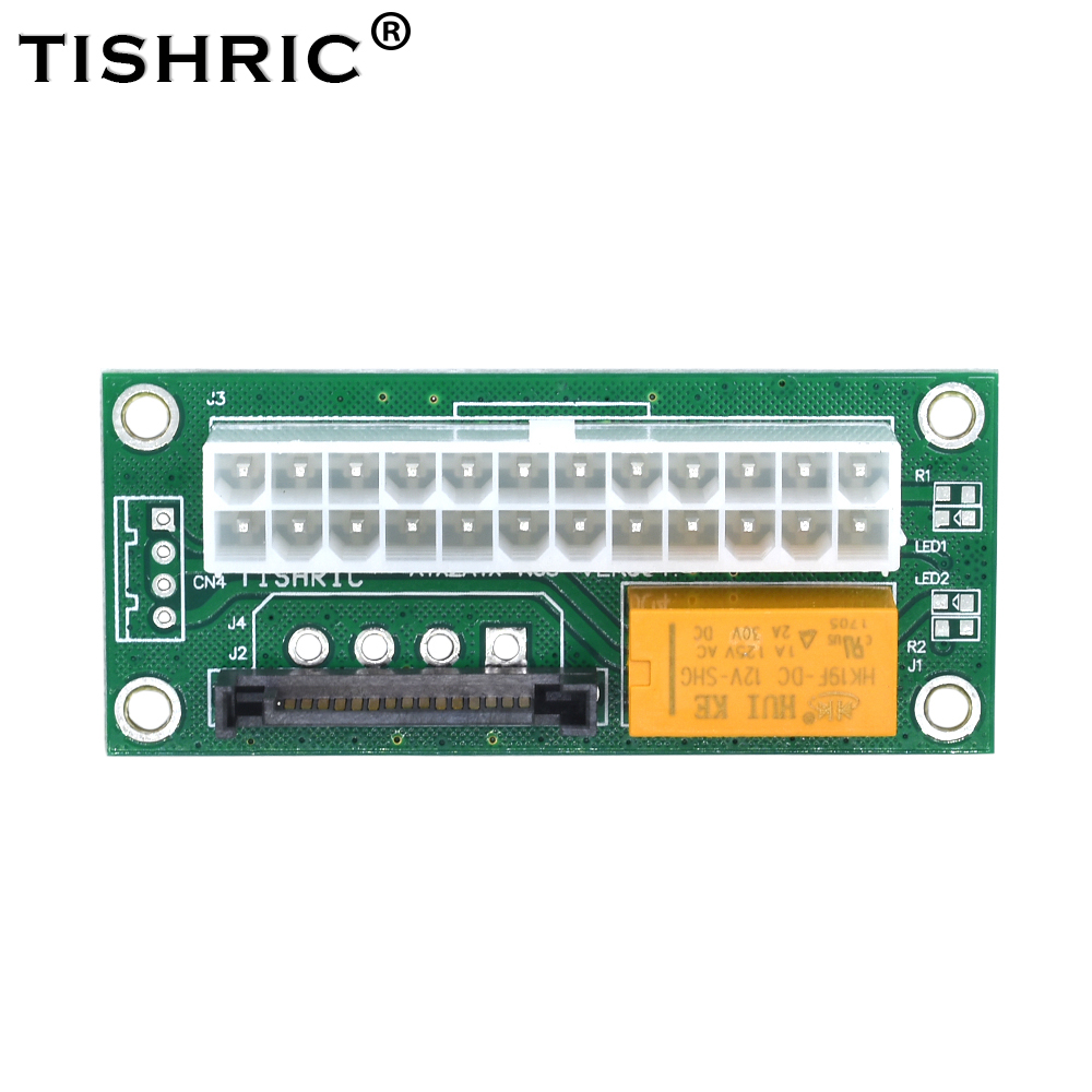 TISHRIC 24Pin ATX 15Pin SATA Molex Connector Power Supply Add2psu Dual Psu Adapter For Btc Mine Sync Starter Extender Cable Card