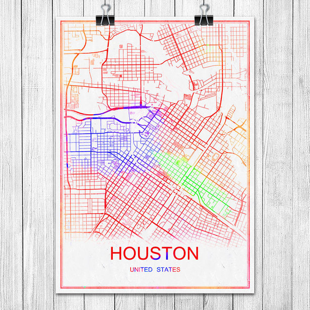 Famous colorful world city map houston usa print poster abstract coated paper bar cafe living room