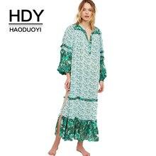 HDY Haoduoyi Women Casual Bohemian Floral Print Loose Long Dress Long Lantern Sleeve Split Side V Neck Midi Dress On Beach casual v neck long lantern sleeve women s green dress