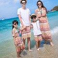 Летний стиль соответствия семейные наряды богемный пляж без бретелек макси платье соответствия платья матери дочь отец и сын костюмы