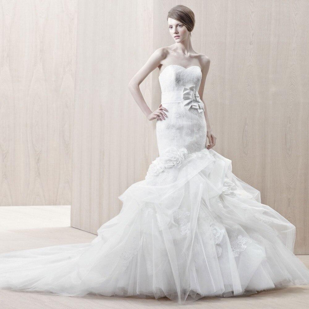 Strapless Mermaid Wedding Gown: Vestido De Noiva Sereia Strapless Mermaid Vintage Lace