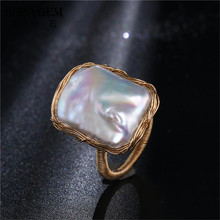 Original Handmade Square Pearl Rings Baroque Shaped Pearl Rings 14K Gold Wire Wrapped Adjustable Wedding Rings For Women Jewelry