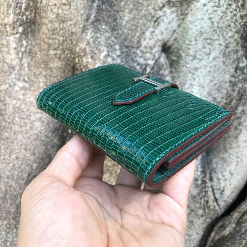 Luksusowe jaszczurka skóry kobiet portfel krótki zamek panie portmonetka kobiet posiadacz karty przypadku w Portfele od Bagaże i torby na  Grupa 3