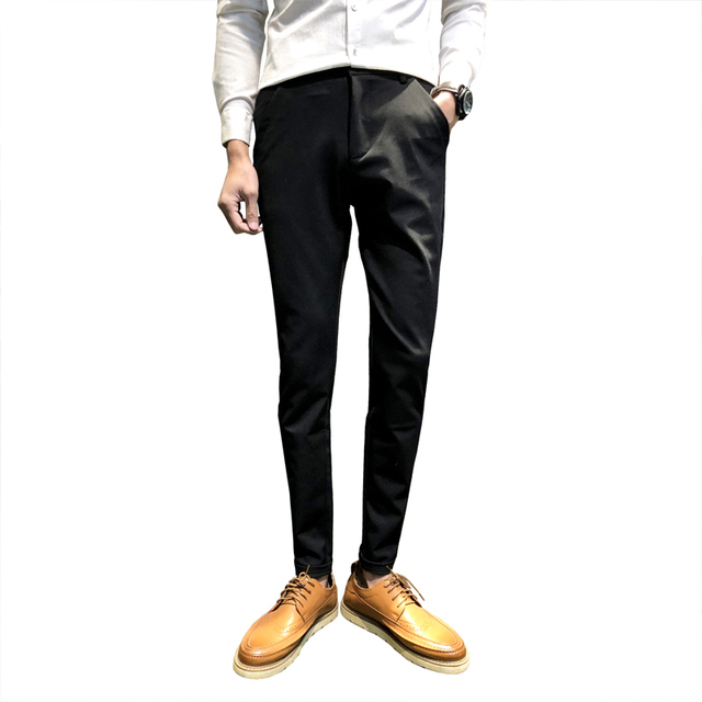 a44ce98f09d5 Men Business Pants Slim Classic Pants Casual Dress Pants Men Black Navy  Wine Red Skinny Trousers Pants Pantalon Azul Hombre
