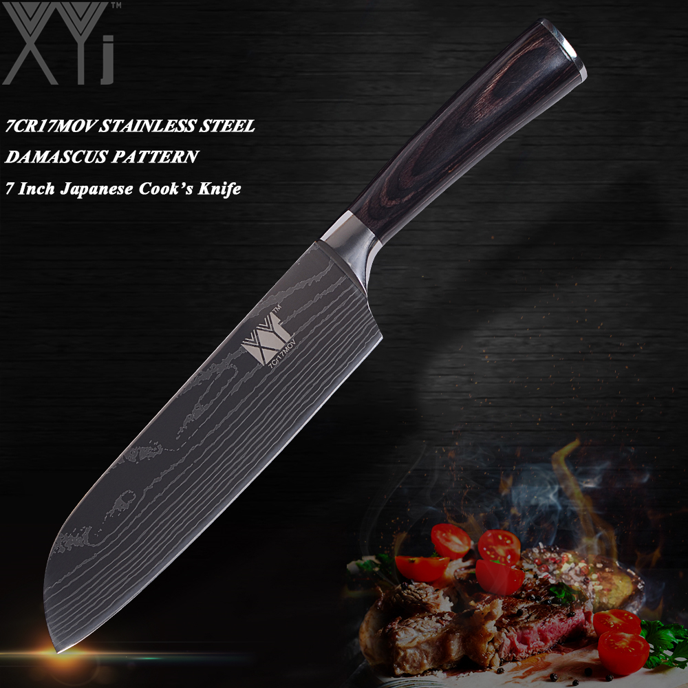 XYj Stainless Steel Chef Slicing Santoku Utility Paring Knife High Quality Kitchen Stainless Steel Knife Sharp Blade Wood Handle
