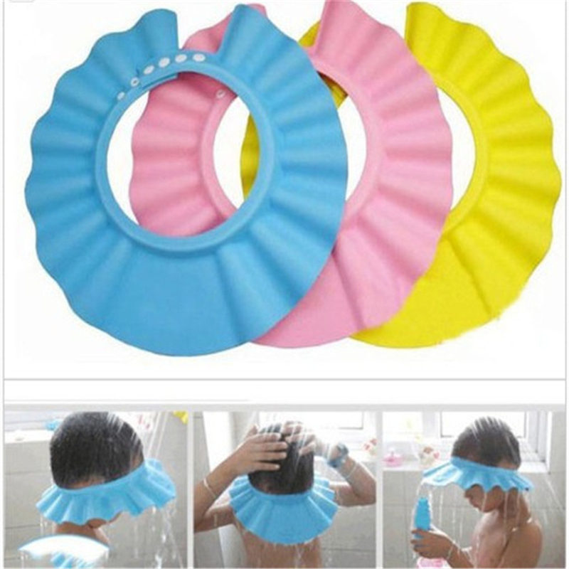Baby Safe Baby Shower Cap Kids Bath Hat Adjustable Baby Shower Cap Protect Eyes Hair Wash Shield For Children Waterproof Cap