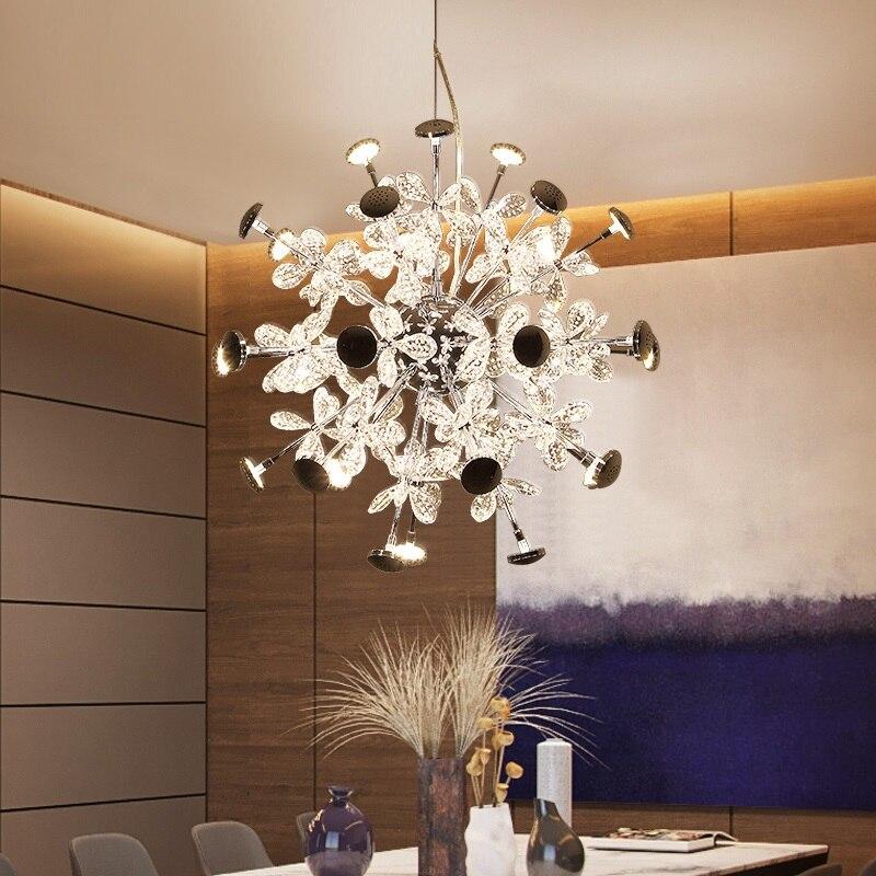 Fleur motif cristal LED lampe suspendue mode chambre pendentif lumières luminaires escaliers lampara Duplex lampe pendante lampara Lustre