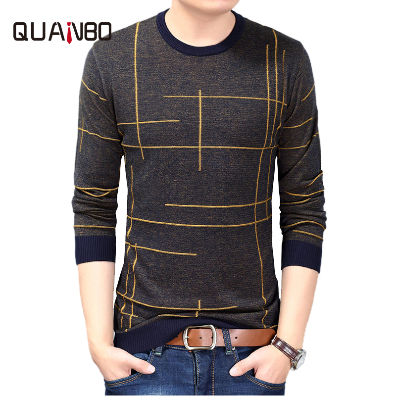 QUANBO 2018 New Autumn Spring Fashion Brand Clothing Casual Sweater O-Neck Striped Slim Fit Knitted Sweaters Thin Pulover Hombre