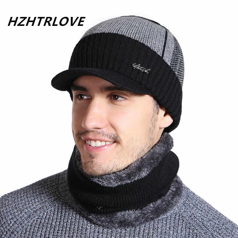 Algodão de alta Qualidade Adicionar Fur Brim Chapéus de Inverno Skullies Gorros Chapéu Para Mulheres Dos Homens Cachecol De Lã Caps Máscara Gorras Bonnet chapéu feito malha