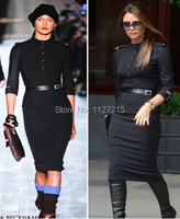Womens Dresses Fashion 2014 Stand Up Collar 3 4 Sleeve Slim Fit Belt Vintage Pencil With