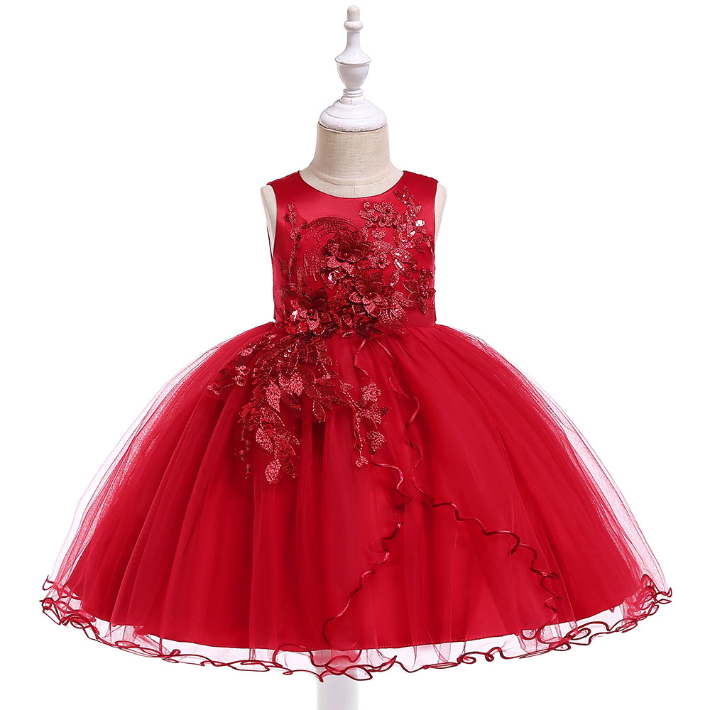 Retail 3-9 Years Kids   Girl   Embroidery Ball Gown   Dress     Flower     Girls     Dresses   For New Year Children Princess   Dress   L5060