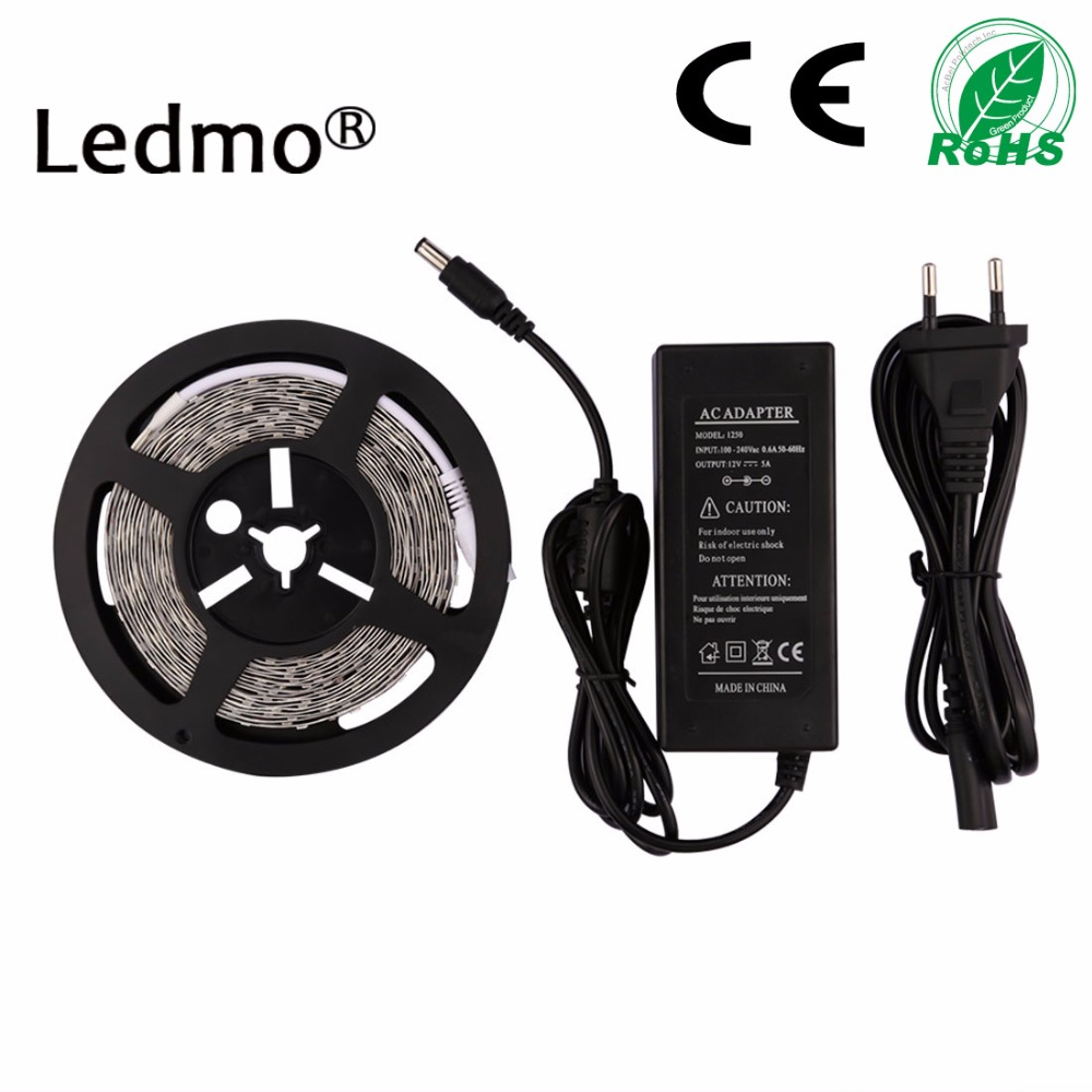 LED Strip 2835 5M 300D DC12V Waterproof PCB Flexible Light for White/Warm White TV Background With 5A EU Power Supply Adapter best price led strip light 2835 flexible light 3w 6w lighting indoor decoration home sensor light new style
