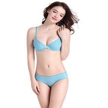 Striped bra set sexy lingerie set underwire underwear push up intimates women bra and panties brief sets