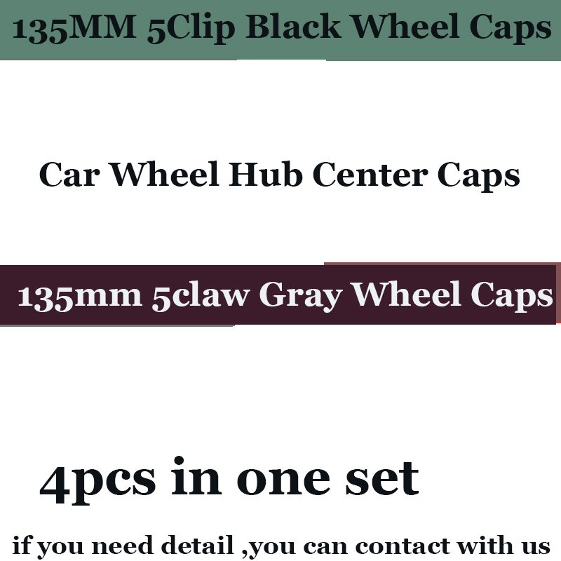 135mm 5clips Car emblem badge rims wheel Hub Covers black Gray for AUDI A1 A2 A3 A4 A5 A6 A7 A8 Q1 Q3 Q5 4pcs/lot caps label