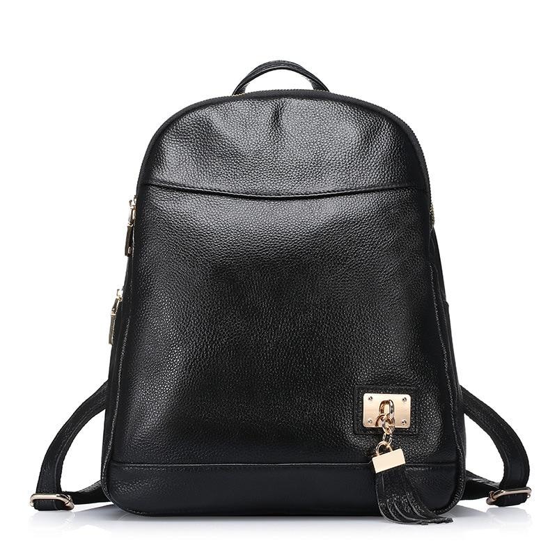 ФОТО 2017 New Black Woman Backpack Fashion Genuine Leather Vintage Girls School Bags Ladies Tassel Casual Female Travel Backpack