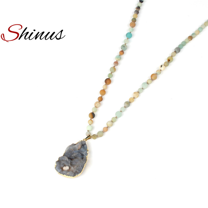 Shinus Necklaces Women Bohemian Jewelry Necklace Boho Mala Bead Knotted Handmade Long Jewellery Agates Pendant Vintage Statement