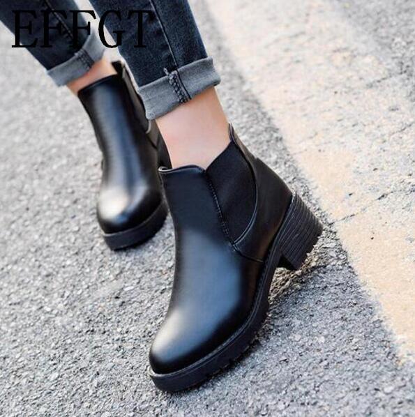 Effgt 2017 Специальное предложение, женские ботинки, сезон осень-зима Ботильоны на платформе и на квадратных каблуках Сапоги из окрашенной кожи мотоциклетные ботинки, обувь