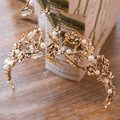 Barroco de la vendimia de Oro Hoja de La Perla Nupcial de Cristal Tiara Corona Celada Hairband Vid Accesorios Novia Pelo de La Boda Tiara Diadema
