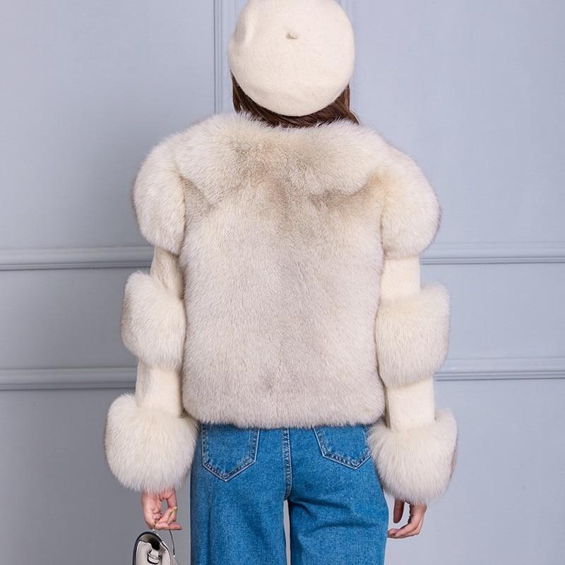 Reale della Pelliccia di Fox del Cappotto per Le Donne 2018 di Inverno di Autunno di Nuovo Modo Genuino della Pelliccia Del Coniglio Cappotto di Modo Naturale Giacca di Pelliccia di Volpe delle donne