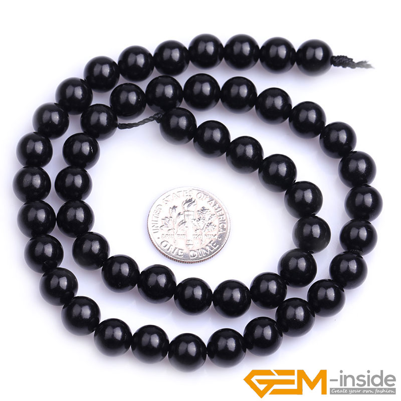 Natural Stone Black Jet Stone Round Beads in 6mm, 8mm and 10mm