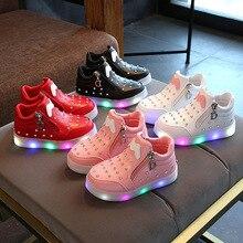 2017 europæiske mode cool LED belysning baby støvler søde varmt salg glødende baby sko afslappet børn piger drenge sko sneakers