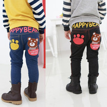 Boys jeans Fall children's clothing baby girls pants children cartoon bear trousers retail 2-6 years old free shipping