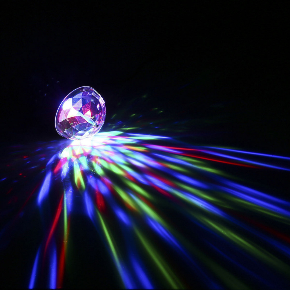 oobest Voice Control RGB LED Crystal Magic Rotating Ball Stage Light 3 Color KTV Party Club Bar Disco Stage Lights 3W Rotating auto rotating rgb led stage light voice control holiday party disco club bar ktv dj led crystal magic ball lighting effect lamp