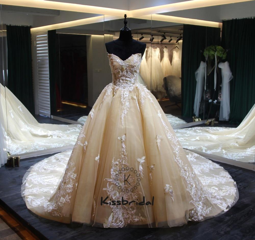Elegante Neue Lange Hochzeit Kleider 2018 Schatz Ballkleid Kapelle Zug Appliques Tüll Braut Kleider Vestido de noiva gelinlik