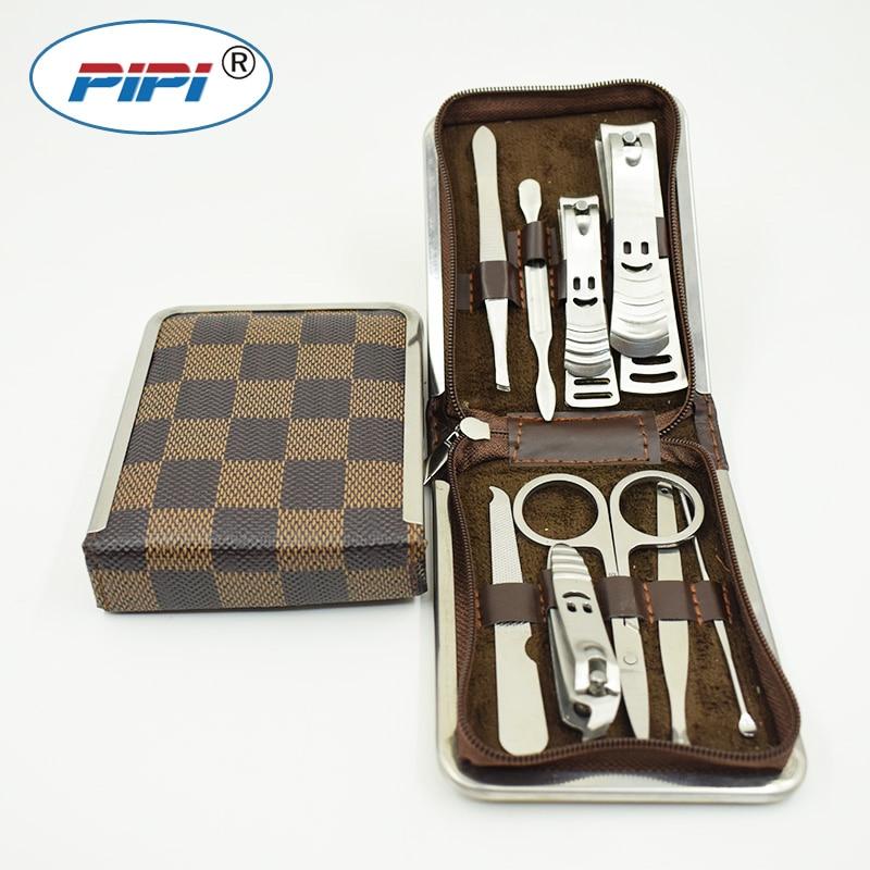 9PCS/Set Nail Art Manicure Tools Set Nails Clipper Scissors Tweezer Knife Manicure Sets Stone Pattern Case For Nail Manicure