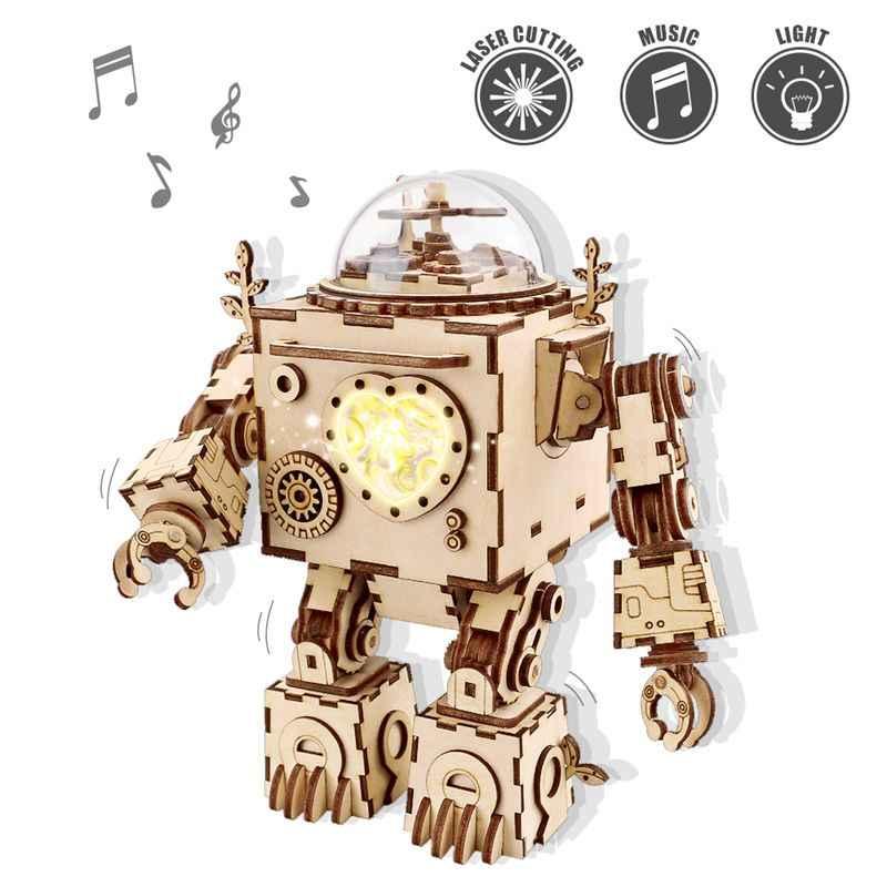 Robud DIY 3D деревянная Механическая головоломка модель строительные наборы лазерная резка действия по заводу Подарочные игрушки для детей LG/LK/AM