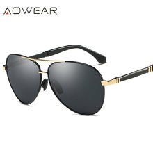 AOWEAR Men/Women Fashionable Polaried Sunglass High Quality Classic Unisex Sun Glass UV Double Bridges Anti-Reflective Eyewear(China)