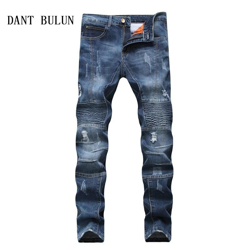 DANT BULUN Men Jeans Distressed Stretch Ripped Biker Jeans Pleated Hip Hop Slim Fit Punk Casual Cotton Denim Pants,T7113