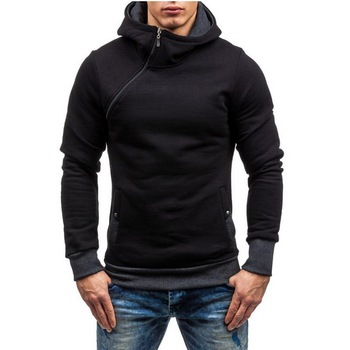Oblique Zipper Sweatshirt Mens Hip Hop Hoodies